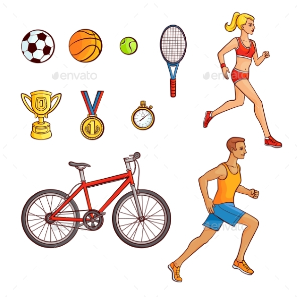 Hand-Drawn Set of Running People and Sport Items - Sports/Activity Conceptual