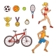 Hand-Drawn Set of Running People and Sport Items - GraphicRiver Item for Sale