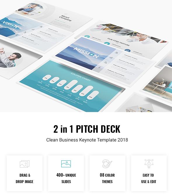 Bundle 2 in 1 Pitch Deck - Clean Business Keynote Template 2018 - Business Keynote Templates