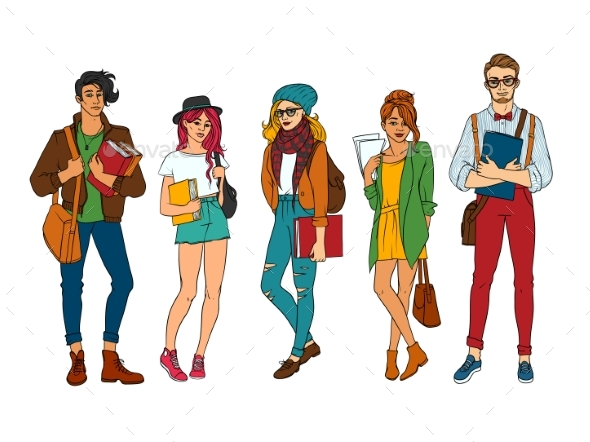 Vector Sketch Young Teen Students Set - People Characters