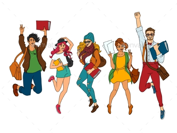 Vector Sketch Young Teen Students Jumping Set - People Characters