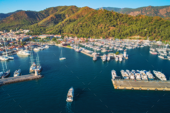 Aerial view of boats and yachts at sunset in Turkey - Stock Photo - Images