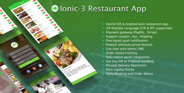 Ionic 2 Restaurant app with Firebase