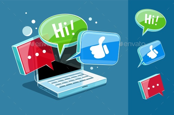Icon for Online Web Chat at Laptop - Communications Technology