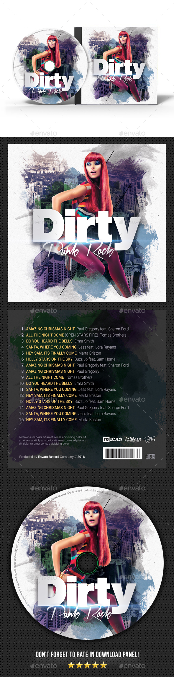 Dirty Punk Rock CD Cover - CD & DVD Artwork Print Templates