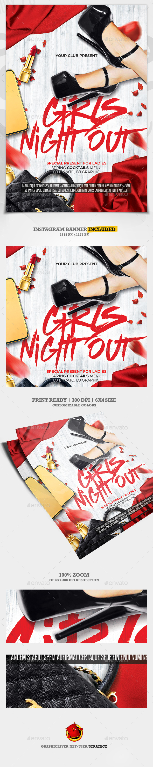Girls Night / Red Night Party Flyer - Print Templates