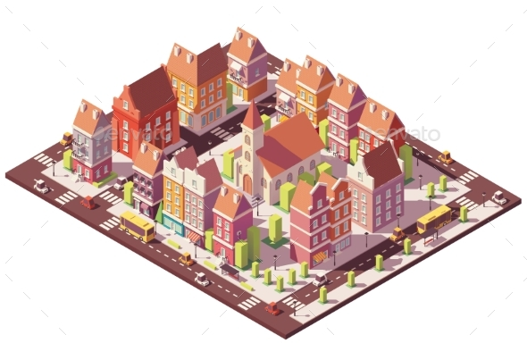 Vector Low Poly Isometric Old City Center - Buildings Objects