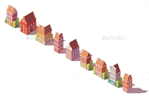 Vector Low Poly Isometric Old Buildings Set - Buildings Objects