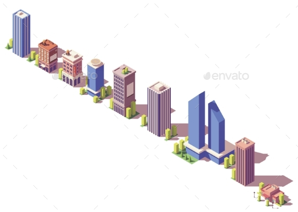 Vector Low Poly Isometric Modern Buildings Set - Buildings Objects