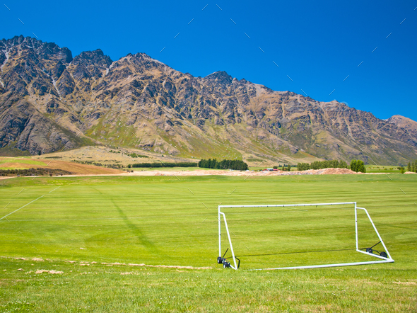 Soccer field in the mountains - Stock Photo - Images