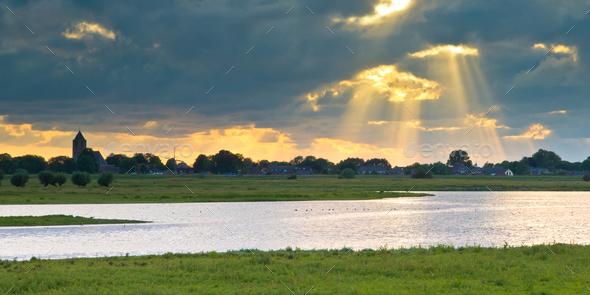 Dutch IJssel river landscape - Stock Photo - Images