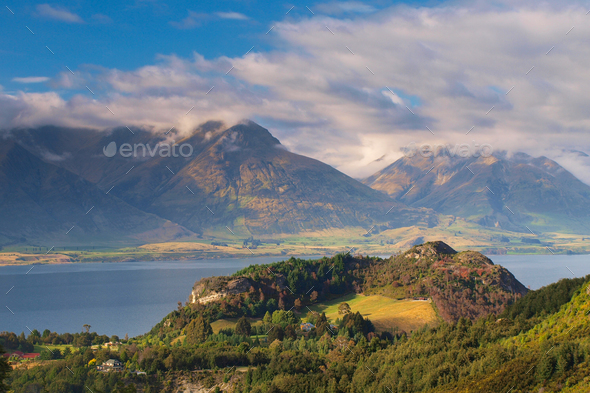 The Mountains near Queenstown New Zealand - Stock Photo - Images