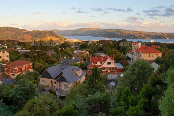 Dunedin during sunset - Stock Photo - Images