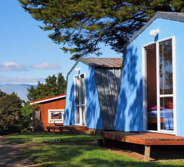 colorful wooden cabin - Stock Photo - Images