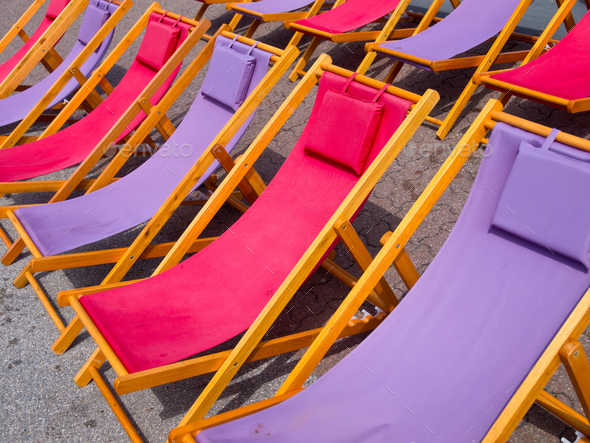 Colorful beach chairs background - Stock Photo - Images