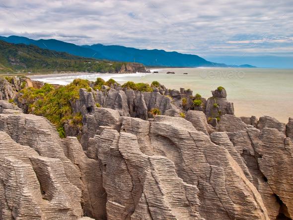Sedimentary Rocks New Zealand - Stock Photo - Images