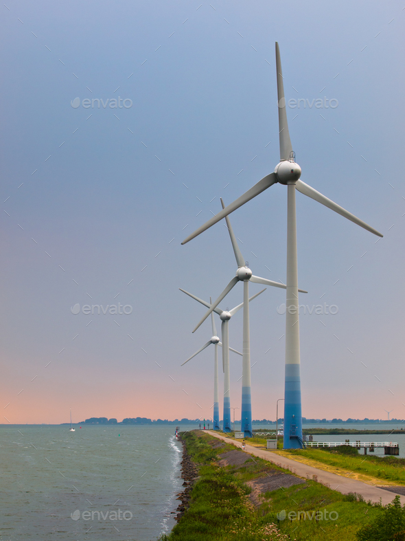 Windturbines on a Pier - Stock Photo - Images