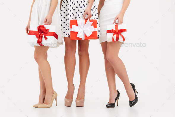 Cropped image of three slim girls - Stock Photo - Images