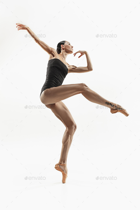 Aerobics fitness woman exercising isolated in full body. - Stock Photo - Images