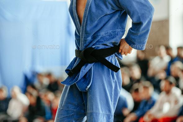judoka blue kimono - Stock Photo - Images