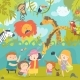 Happy Children in Zoo with Wild African Animals - GraphicRiver Item for Sale