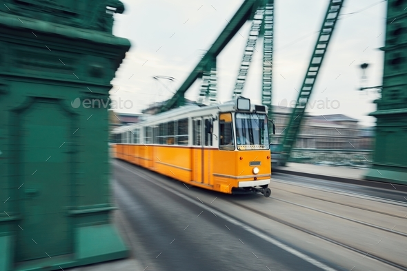 Tram in motion - Stock Photo - Images