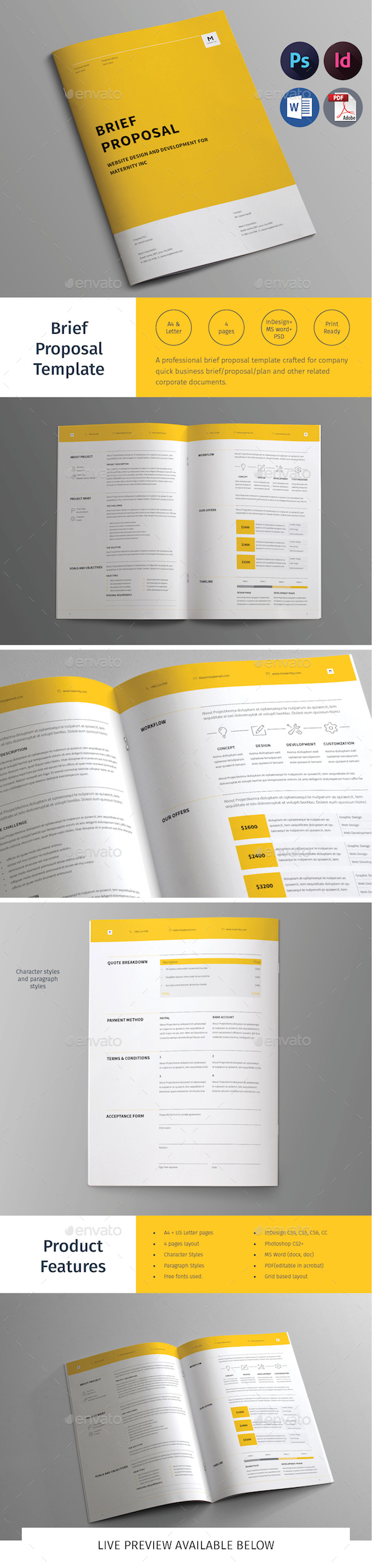 Brief Proposal Template - Proposals & Invoices Stationery