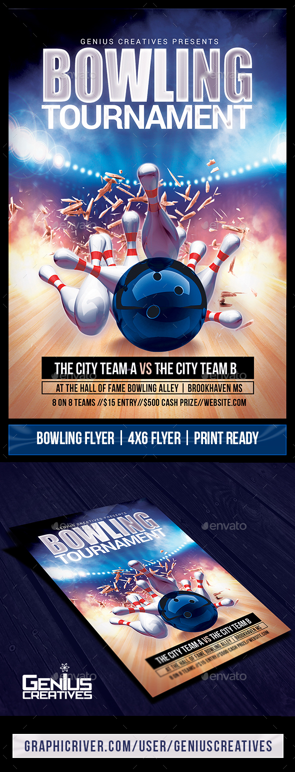 Bowling Tournament Flyer Template - Sports Events