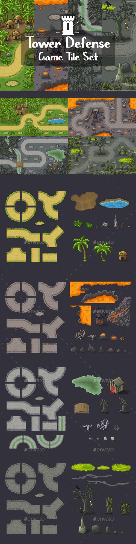 Tower Defense 2D Tile Sets - Tilesets Game Assets