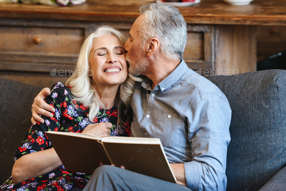 Portrait of happy late mature man and woman 70s spending pleasan - Stock Photo - Images