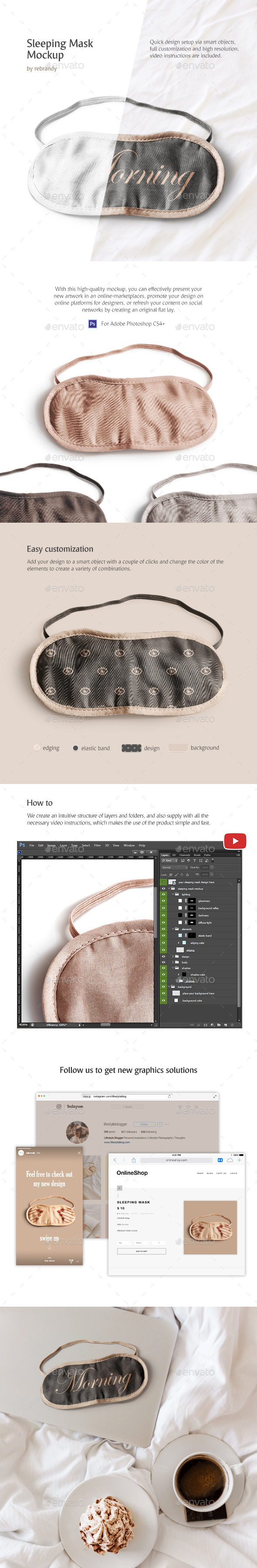 Sleeping Mask Mockup - Product Mock-Ups Graphics