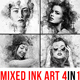 Mixed Ink Art - 4in1 Photoshop Actions Bundle - GraphicRiver Item for Sale
