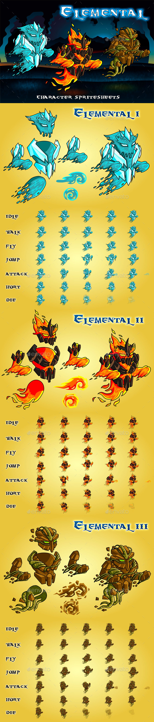 Elemental 2D Game Character Sprite Sheet - Sprites Game Assets