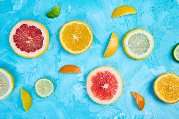 Colorful pattern made of slices citrus - Stock Photo - Images