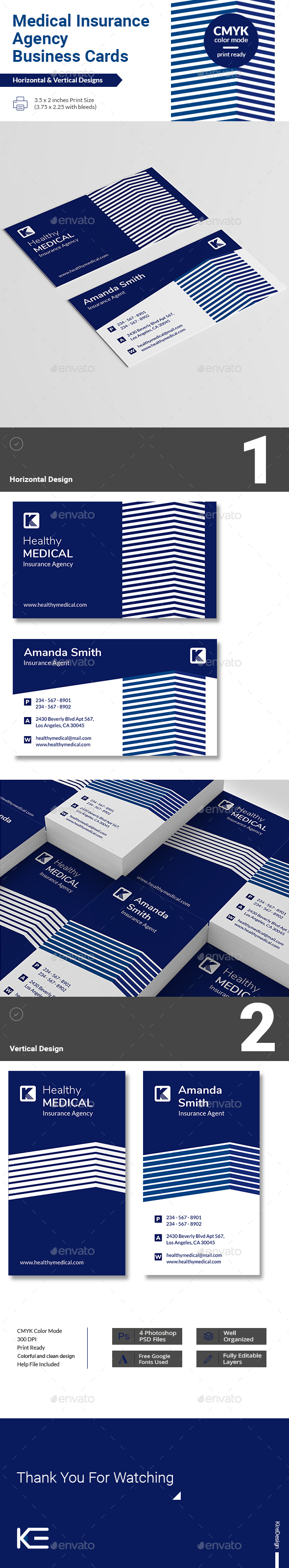 Medical Insurance Agency Business Cards - Business Cards Print Templates