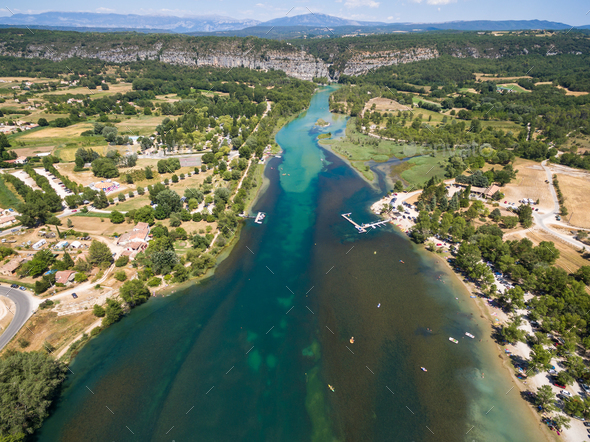 Aerial view of  Gorge du Verdon  canyon river in south of France - Stock Photo - Images