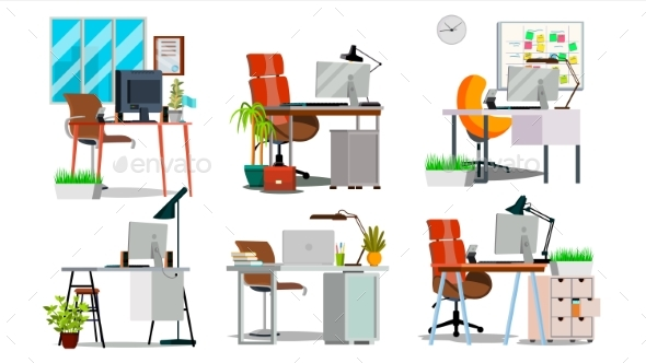 Office Workplace Interior Set Vector. Interior Of - Objects Vectors