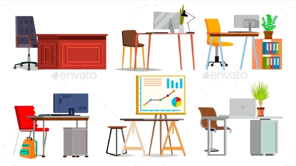 Office Workplace Set Vector - Objects Vectors