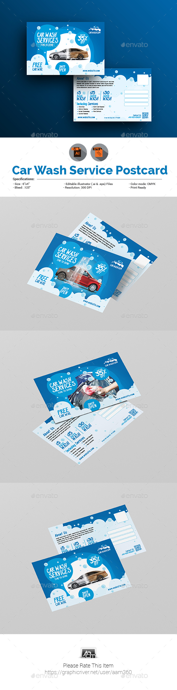 Car Wash Postcard Template - Cards & Invites Print Templates