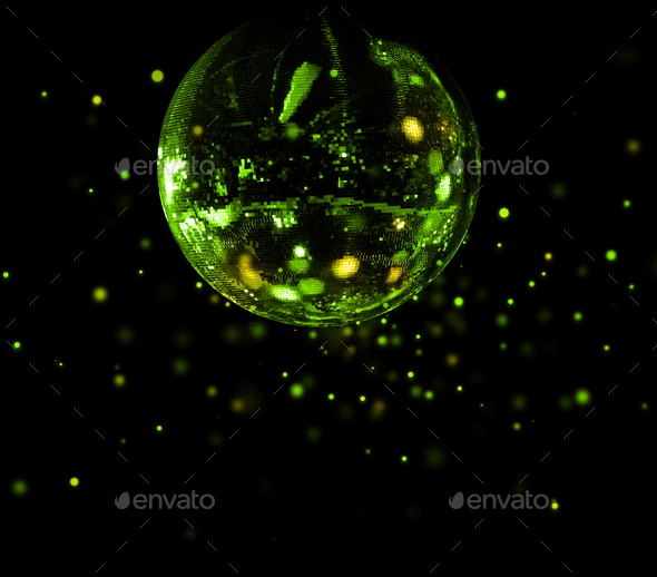 Colorful disco mirror ball green light spots - Stock Photo - Images