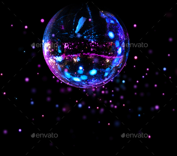 Colorful disco mirror ball light spots - Stock Photo - Images