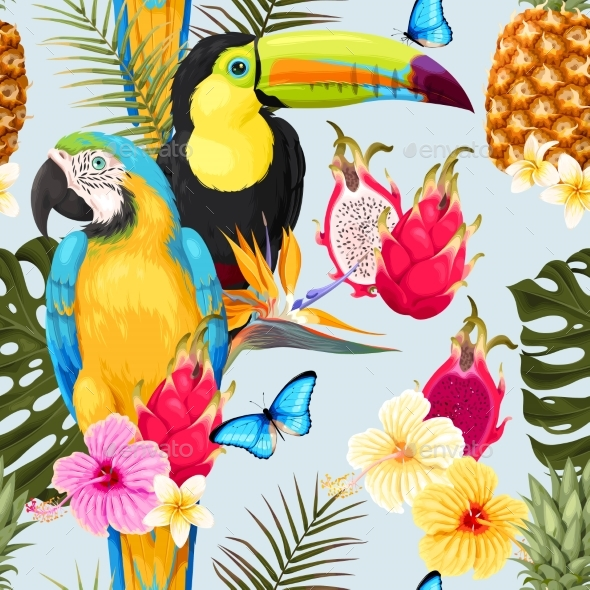 Seamless Birds and Flowers - Flowers & Plants Nature