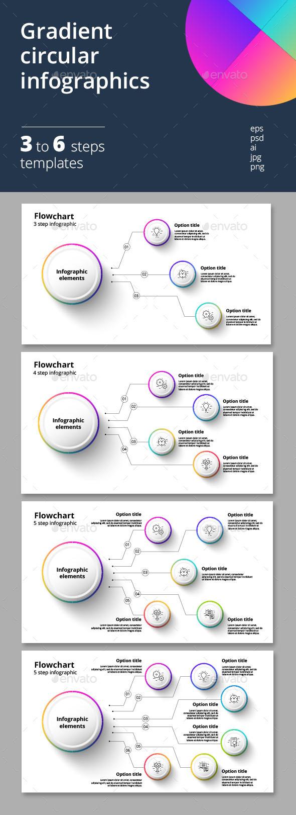 3-6 step gradient circular infographics - Infographics