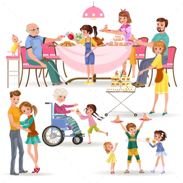 Happy Family Eating Dinner at Home, People Eat - People Characters