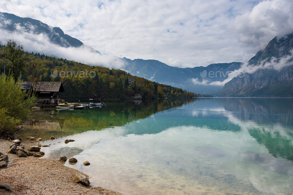 Cabin at the border of Bohinj Lake - Stock Photo - Images