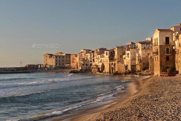 Cefalu seaside houses on Sicily - Stock Photo - Images