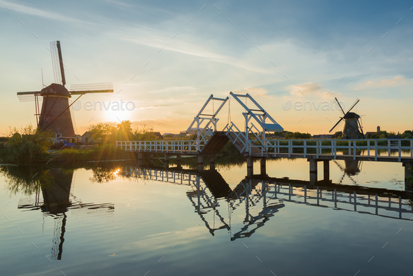 Summer at the windmills of Kinderdijk - Stock Photo - Images