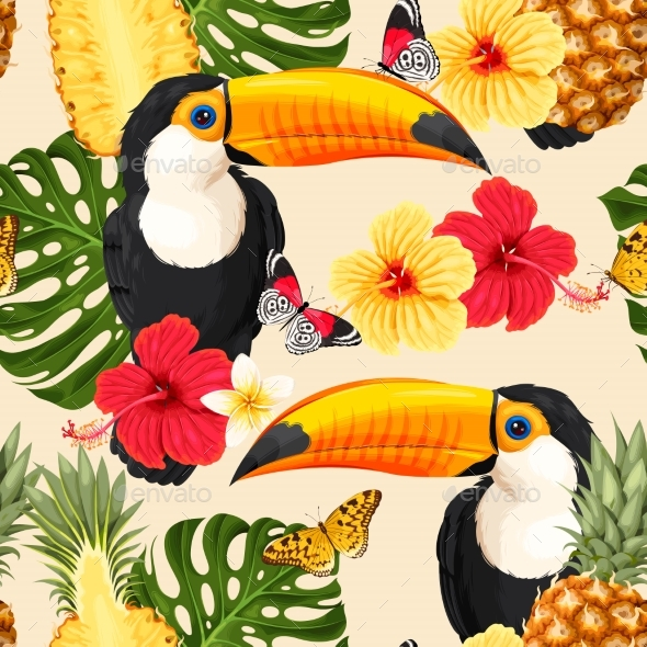 Toucans and Flowers - Animals Characters