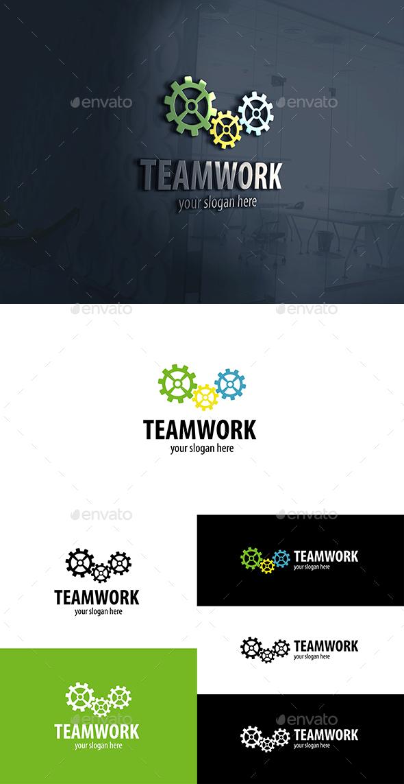Gear Works Logo.Teamwork - Vector Abstract