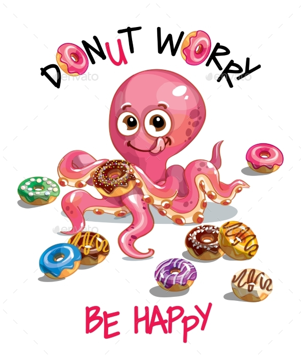 Vector Illustration of Cartoon Octopus with Donuts - Animals Characters